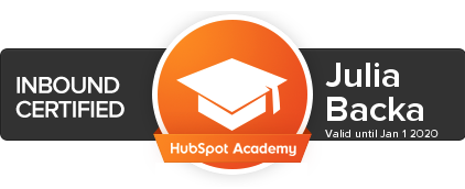 Julia Backa's Inbound Marketing Certification Badge Expires Jan. 2020