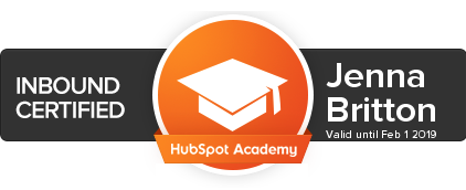 hubspot inbound certification jenna britton