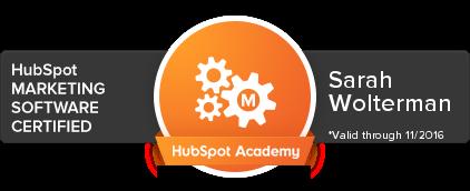 Sarah Wolterman Hubspot Marketing Software Certified