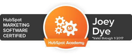 Hubspot Academy Certification Badge Joey Dye