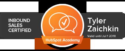 Tyler Zaichkin HubSpot Inbound Sales Certification