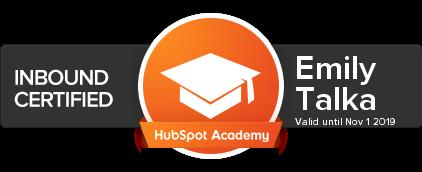 Hubspot Academy Inbound Certified, expires November 1, 2019