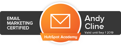 Hubspot Email Marketing Certified, Andy Cline, Valid until Sept 1 2019