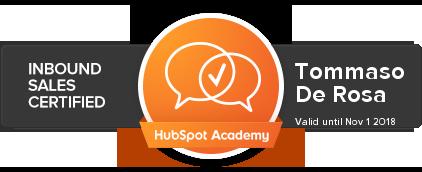 Tommaso De Rosa | Inbound Sales Certified | HubSpot Academy