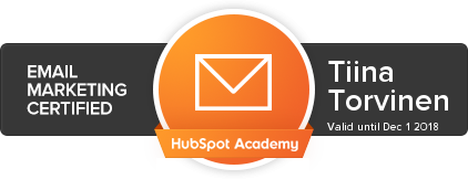 Hubspot Email Marketing certification Tiina Torvinen