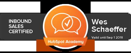 Wes Schaeffer is HubSpot Inbound Sales Certified