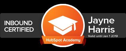 hubspot inbound certification jayne harris