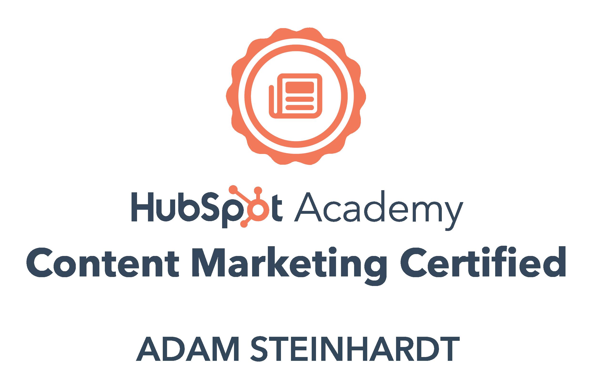 HubSpot Content marketing Certified Adam Steinhardt The Kingdom CEO