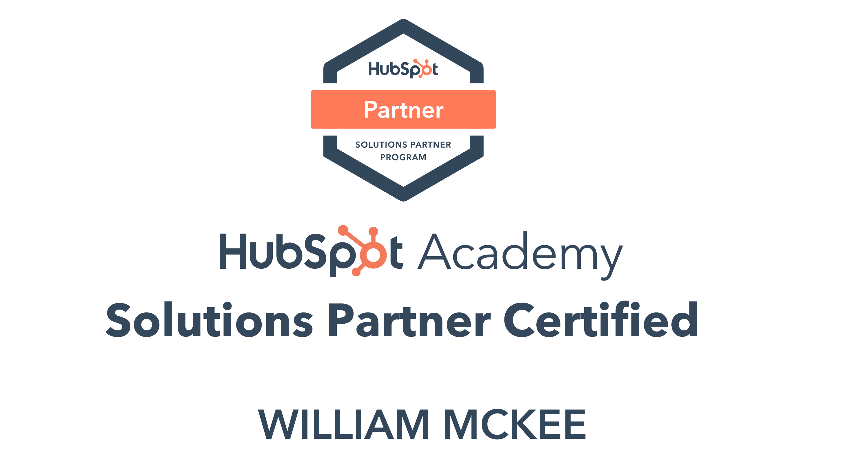 William McKee HubSpot Solutions Partner Certificate