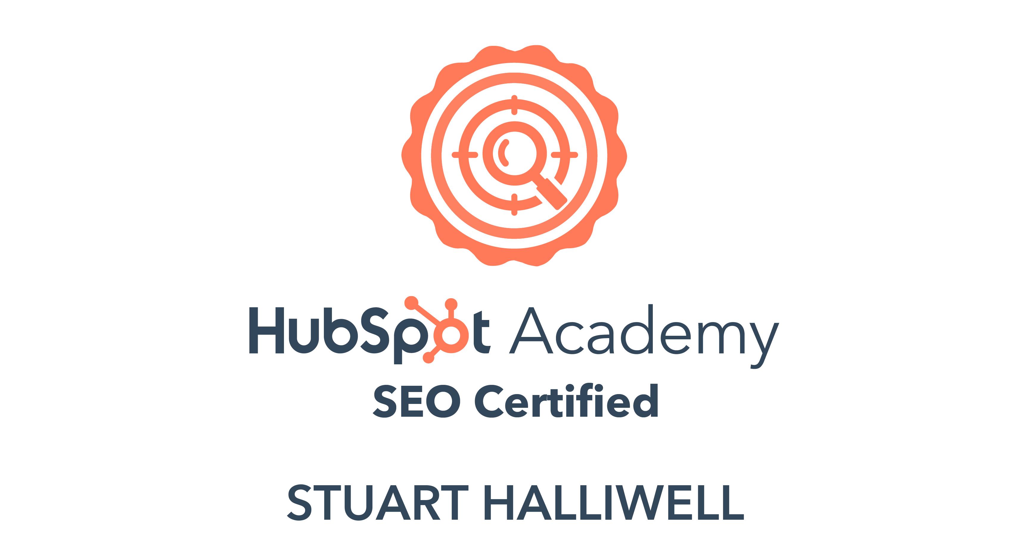 SEO Certified by Hubspot