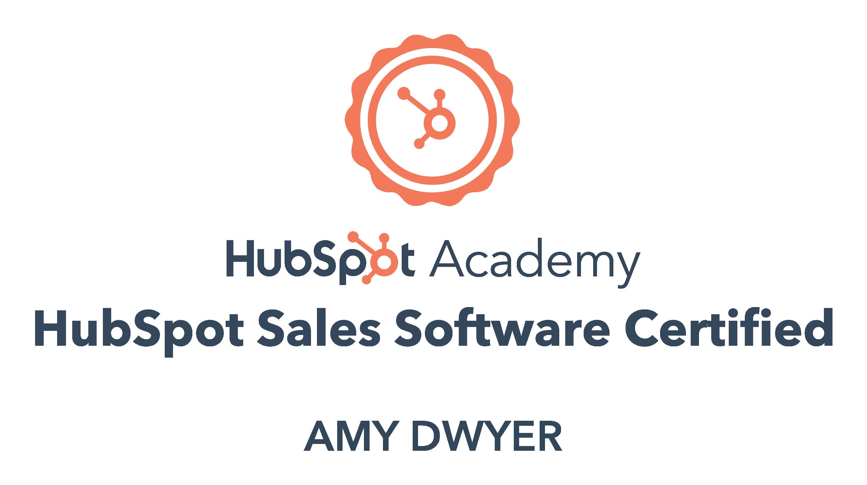 HubSpot sales software certified Amy Dwyer