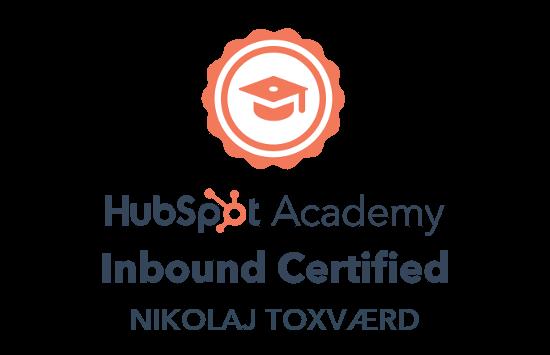 Nikolaj Toxværd er Inbound certificeret fra HubSpot