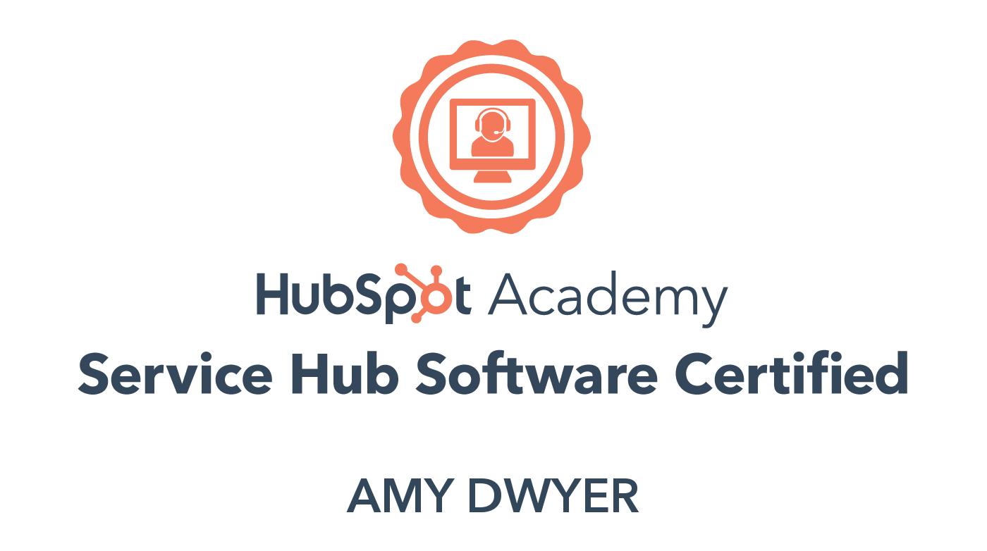 HubSpot service hub software certified Amy Dwyer