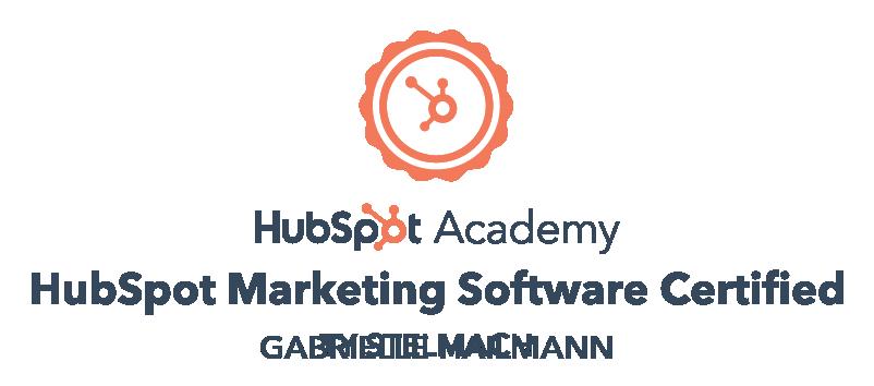 HubSpot Marketing Software Certification Gabrielle Hailmann