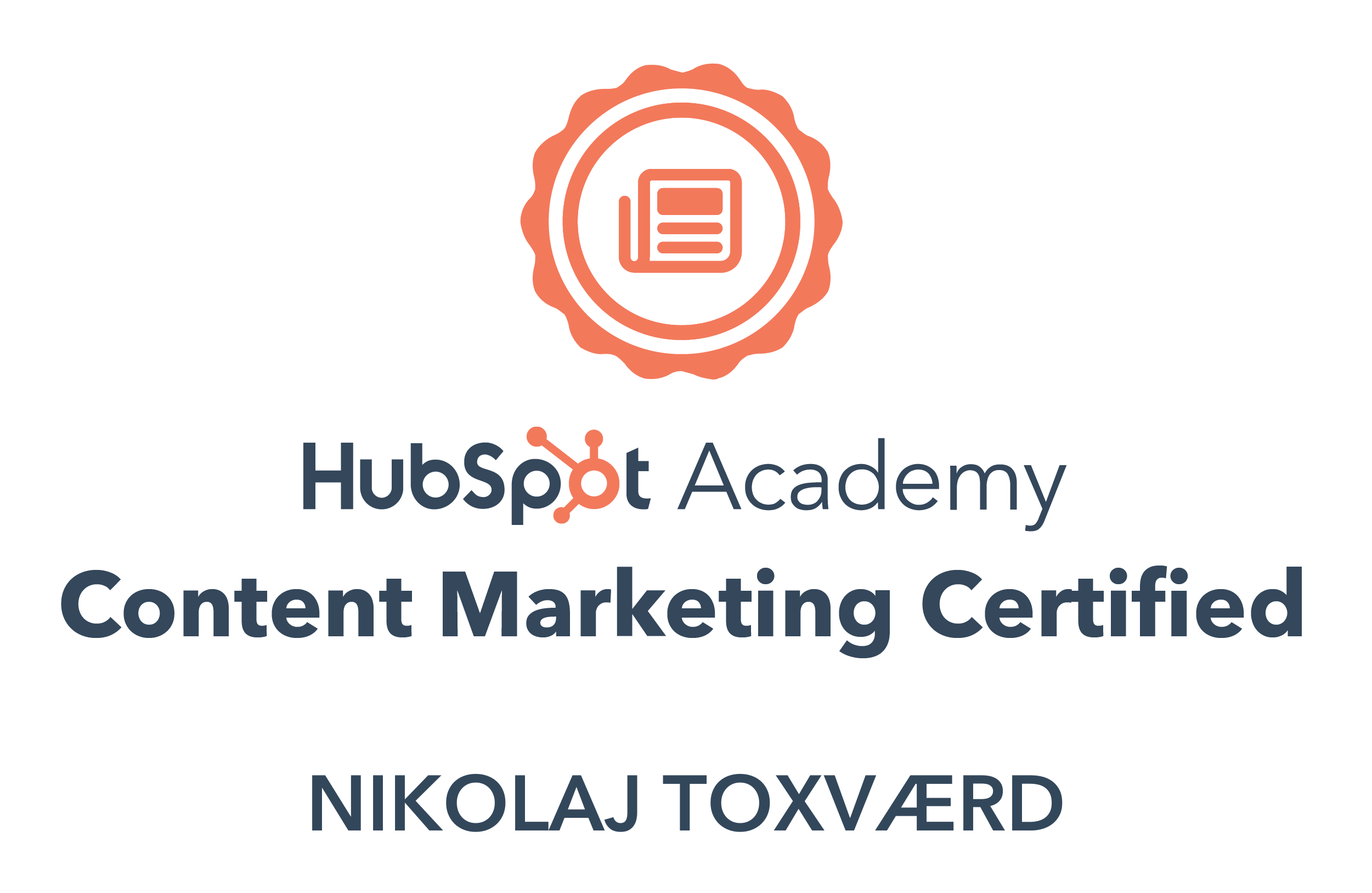 Nikolaj Toxværd er Content Marketing certificeret fra HubSpot