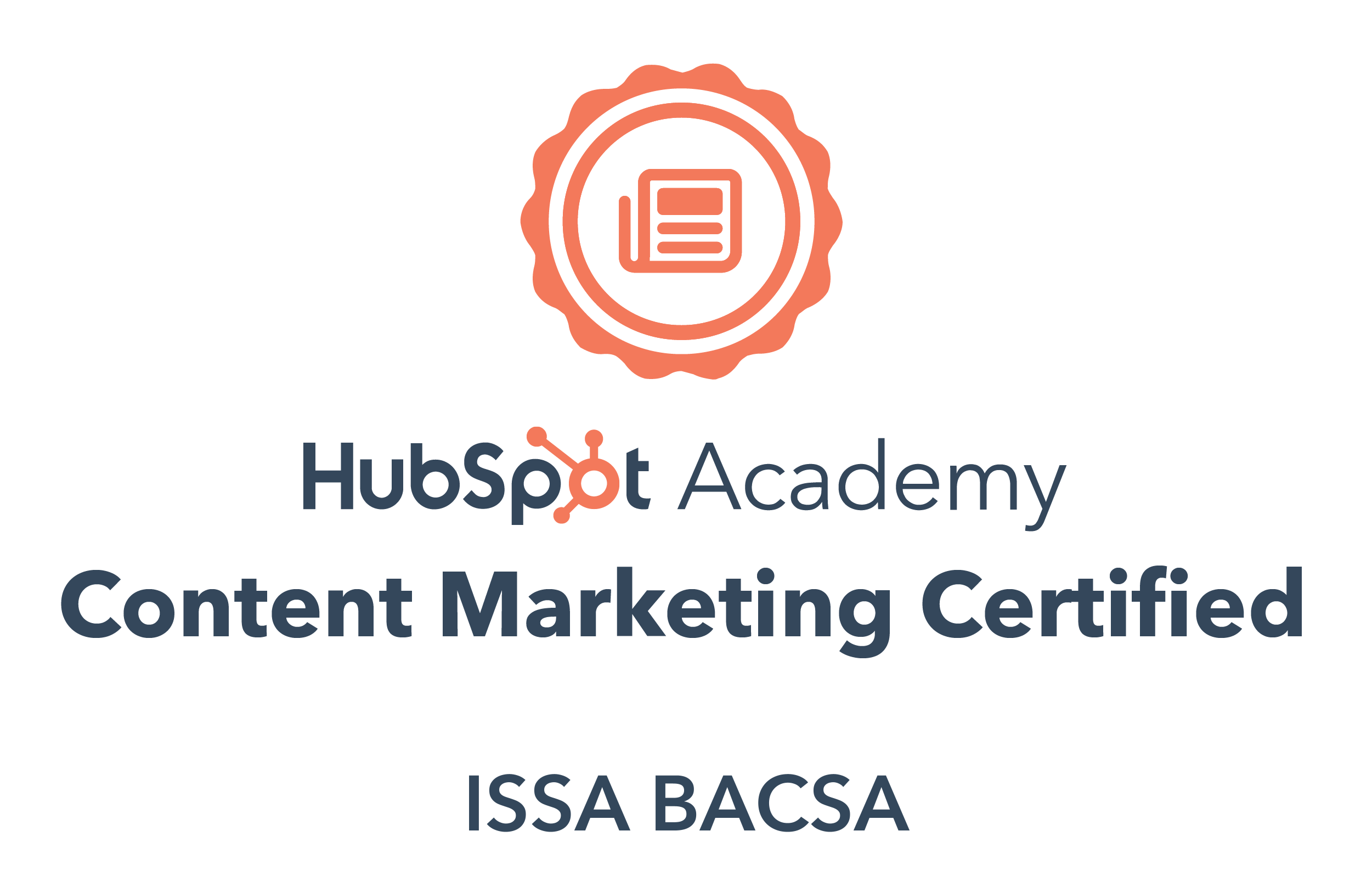 HubSpot Content Marketing Certification of Issa Bacsa