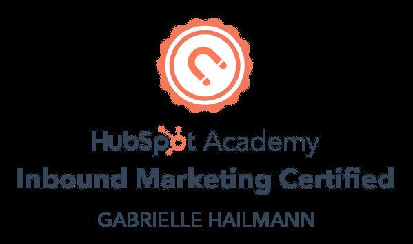 HubSpot Inbound Marketing Certification Gabrielle Hailmann