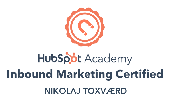 Nikolaj Toxværd er Inbound Marketing certificeret fra HubSpot